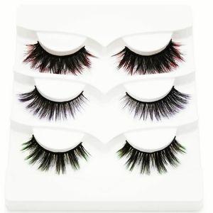 Black Multicolored Mink 5D Eyelashes Makeup Eye La